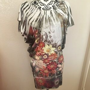 Womens Casual Form-Fitted Graphic Floral Dress